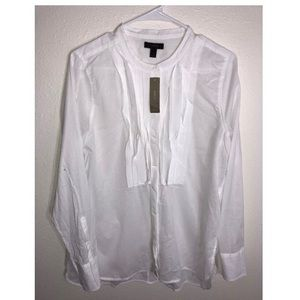 J Crew Drapey Tuxedo Top Pleated Bib Button Down